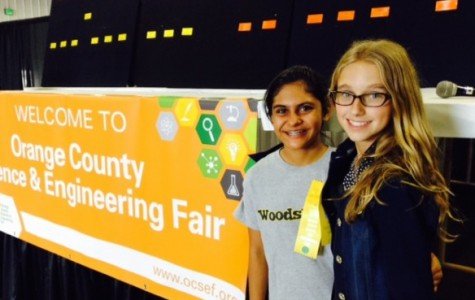 Two hard-working sixth graders attend the Orange County Science Fair